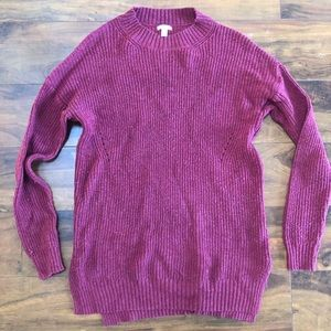 Wine red colored cable knit oversized sweater